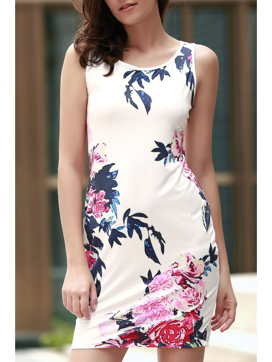 sale Floral Round Collar Sleeveless Bodycon Dress - WHITE S