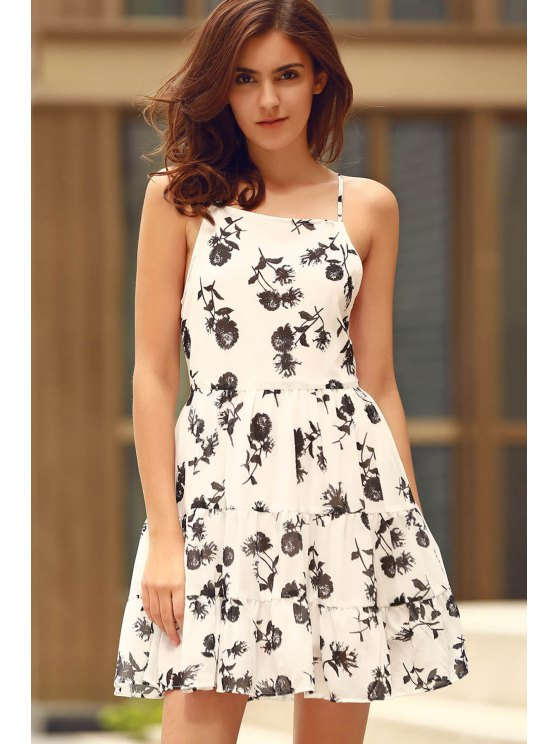 Floral Print Tiered Chiffon Swing Dress - WHITE M Mobile