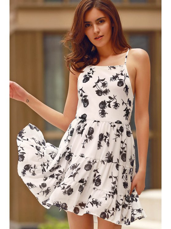 Floral Print Tiered Chiffon Swing Dress - WHITE S Mobile