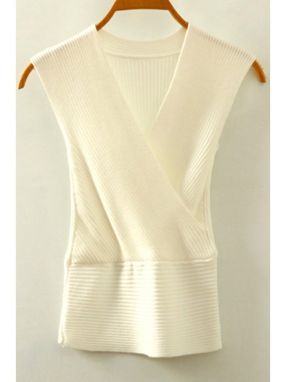 buy Knitted V-Neck Crossed Tank Top - WHITE ONE SIZE(FIT SIZE XS TO M)