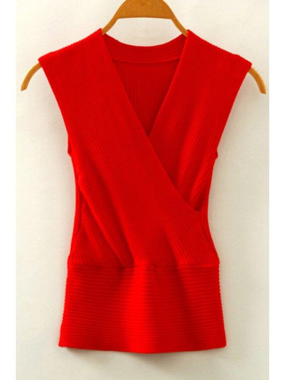 De punto con cuello en V sin mangas cruzadas - Rojo Un tamaño(Montar tam