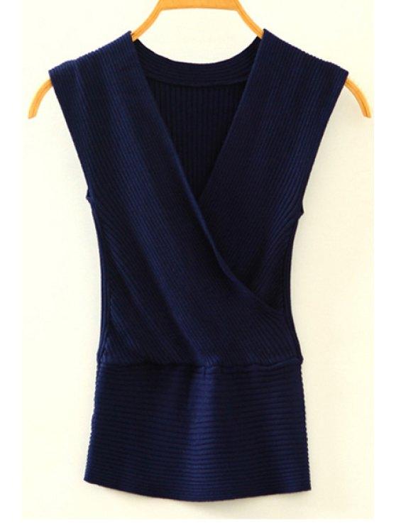 Tricot à col en V croisé Tank Top - Bleu Cadette Taille Unique(S'adap