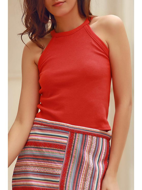 sale Solid Color Round Collar Tank Top - BRICK-RED XL