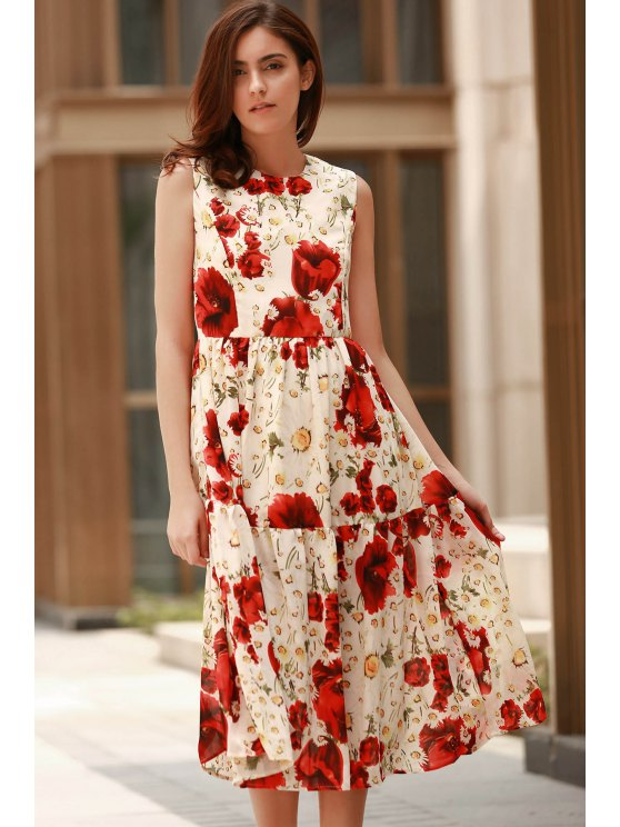 Folded Floral Print Round Neck Sleeveless Dress - RED L Mobile