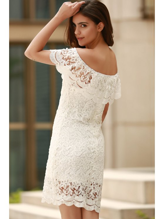 Off The Shoulder Flounce Ruffles Boat Neck Lace Dress - WHITE M Mobile