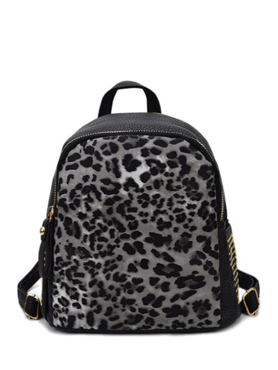 new Leopard Print Zip Rivet Satchel - BLACK
