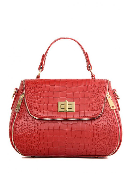 latest Zips Hasp Crocodile Print Tote Bag - WINE RED