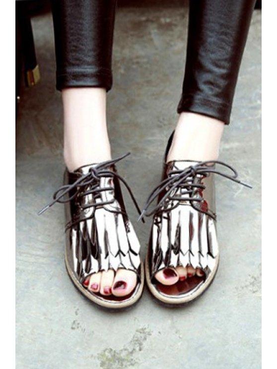 Fringe Lace-Up Peep Toe Shoes - GUN METAL 36 Mobile