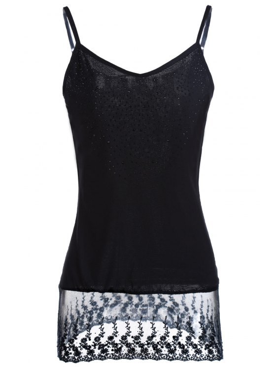 shop Lace Spliced Beaded Spaghetti Straps Tank Top - BLACK ONE SIZE(FIT SIZE XS TO M)