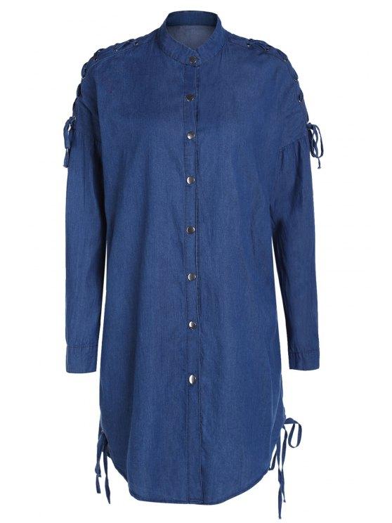 Dril de algodón del collar del soporte del cordón para arriba capa de la camisa - Azul M