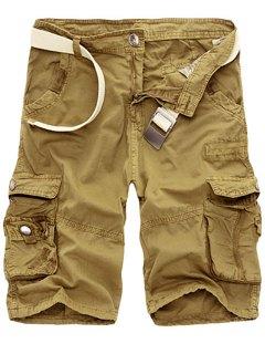 Solid Color Multi-Pocket Straight Leg Zipper Fly Loose Fit Cargo Shorts For Men - Khaki 34