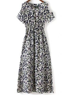 Tiny Flower Print Round Collar Cold Shoulder Dress - Purplish Blue L