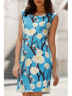 Elegant Floral Print Round Neck Sleeveless Dress - Blue Xl