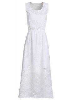 Cutout Floral Pattern Long Dress - White M