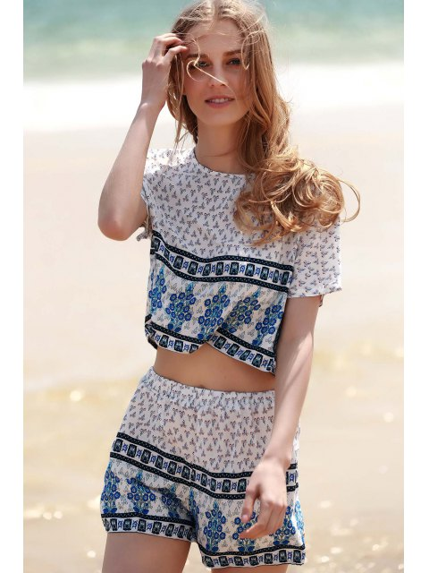 buy Cropped Short Sleeve Printed T-Shirt and Shorts Twinset - WHITE L Mobile