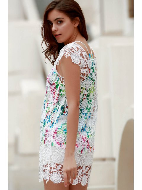 fancy Backless Round Collar Solid Color Lace Cover Up - WHITE XL Mobile
