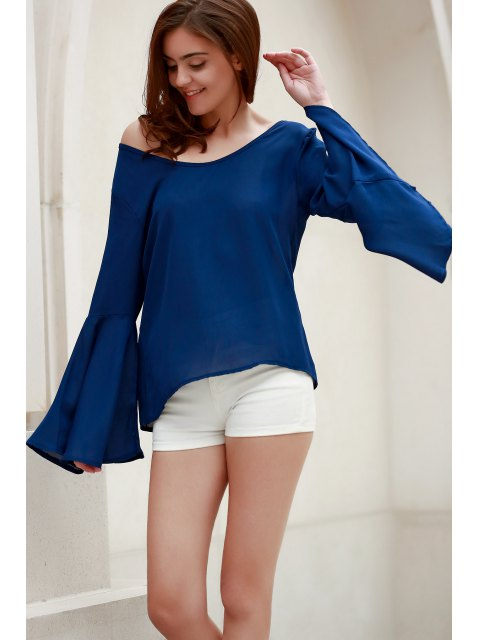 outfits Blue Loose Scoop Collar Flare Sleeve Blouse - BLUE S Mobile