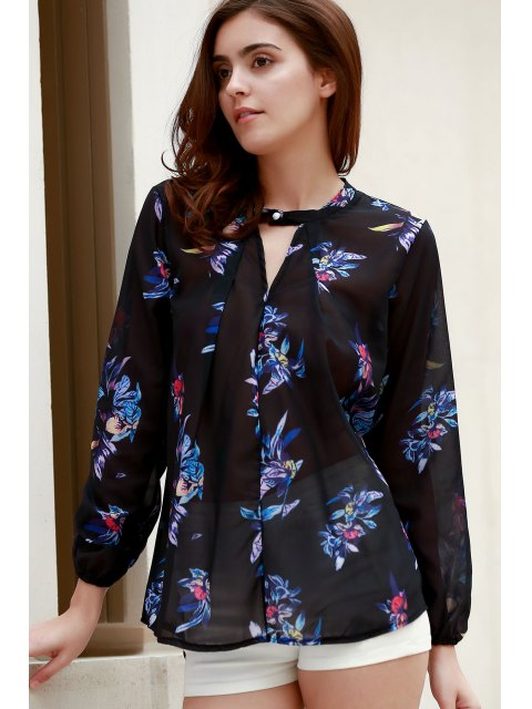 outfits V-Neck Colorful Floral Print Long Sleeve Shirt - BLACK L Mobile