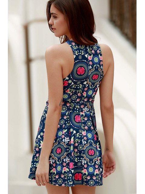 women Flower Print Plunging Neck Sleeveless Dress - BLUE XL Mobile