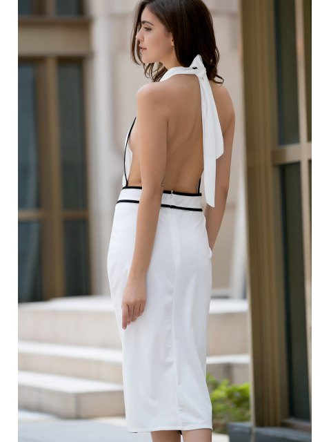 sale Backless Stand Collar Cut Out Dress - WHITE M Mobile