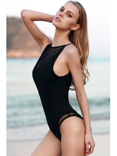 new See-Through Hollow Back Bodysuit - BLACK L Mobile