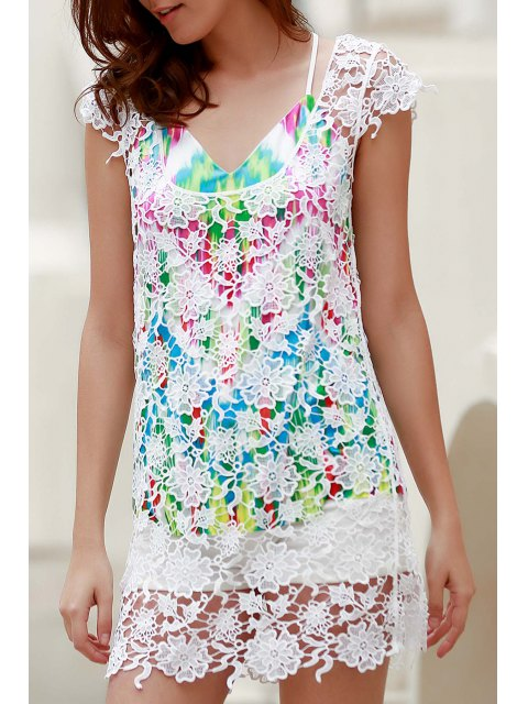 fashion Backless Round Collar Solid Color Lace Cover Up - WHITE M Mobile