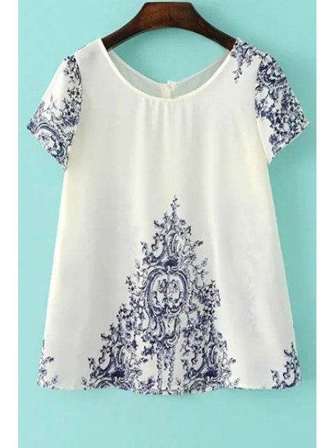 outfit Vintage Print Scoop Neck Short Sleeve T-Shirt - WHITE S Mobile