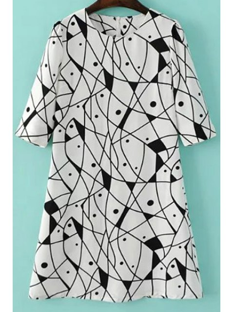 buy Abstract Print A-Line Dress - WHITE M Mobile