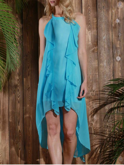 hot High Low Sleeveless Chiffon Dress - LIGHT BLUE M Mobile