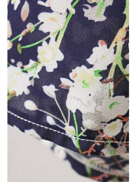 chic Tiny Flower Print Round Collar Cold Shoulder Dress - PURPLISH BLUE S Mobile