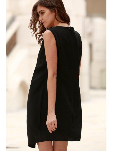 new Hit Color Round Neck Sleeveless Chiffon Dress - BLACK XL Mobile