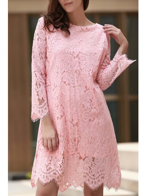 ladies Lace Round Collar Long Sleeve Solid Color Dress - PINK L Mobile
