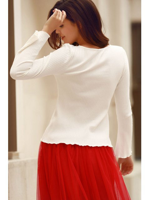 buy Solid Color Round Neck Flare Sleeve T-Shirt - WHITE S Mobile