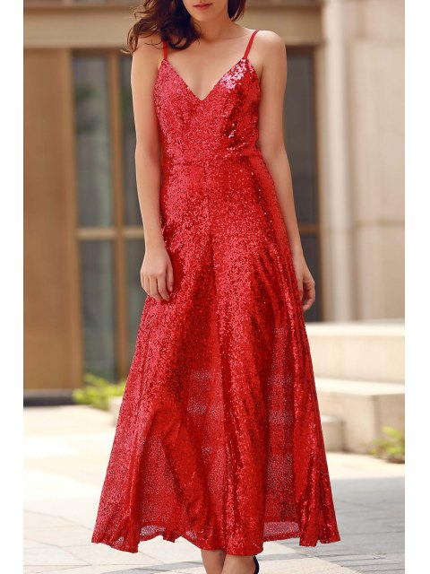 shops Backless Sequins Spaghetti Strap Maxi Dress - RED S Mobile