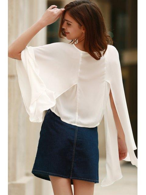 shop Lace-Up Cape Design Chiffon Crop Top - WHITE XL Mobile