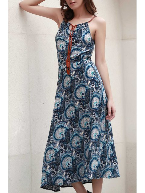 sale Paisley Print Spaghetti Straps Dress - BLUE M Mobile