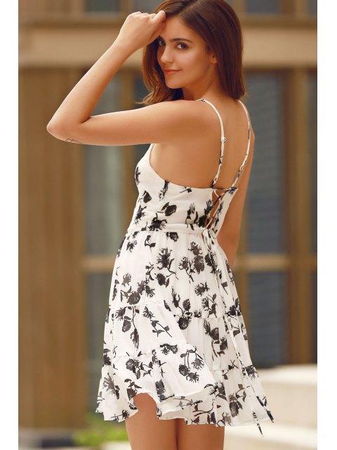 women's Floral Print Tiered Chiffon Swing Dress - WHITE M Mobile