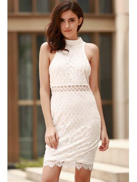 sale Mock Neck Guipure Lace Sheath Dress - WHITE M Mobile