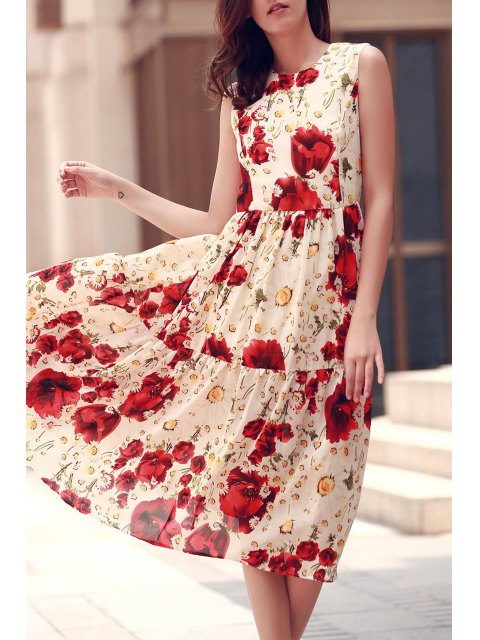fashion Folded Floral Print Round Neck Sleeveless Dress - RED L Mobile