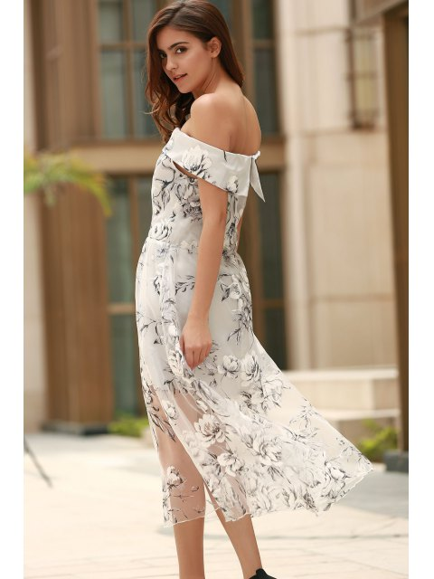 new Off The Shoulder Floral Print Boat Neck Dress - WHITE XL Mobile