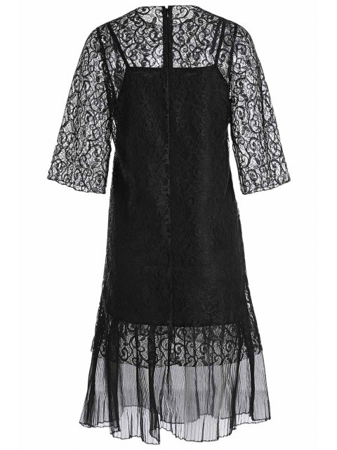 shop Openwork Lace Hook Dress + Camisole Dress Twinset - BLACK ONE SIZE(FIT SIZE XS TO M) Mobile