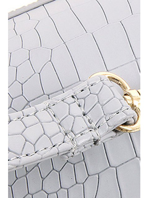 shops Zips Hasp Crocodile Print Tote Bag - LIGHT GRAY  Mobile