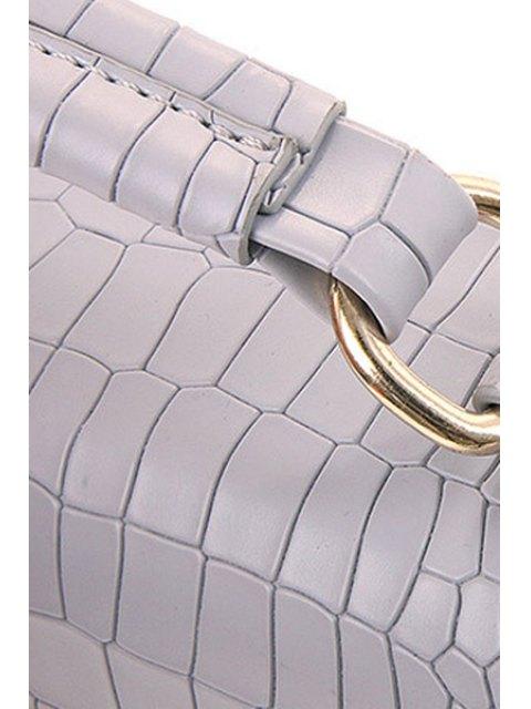 women's Metallic Letter Crocodile Print Tote Bag - OFF-WHITE  Mobile
