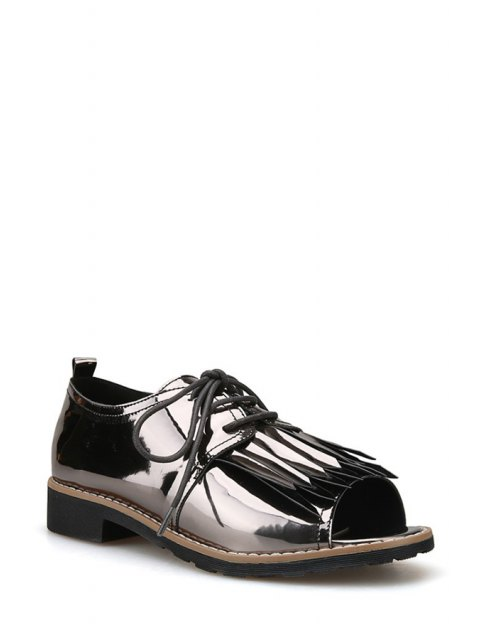 outfit Fringe Lace-Up Peep Toe Shoes - GUN METAL 36 Mobile