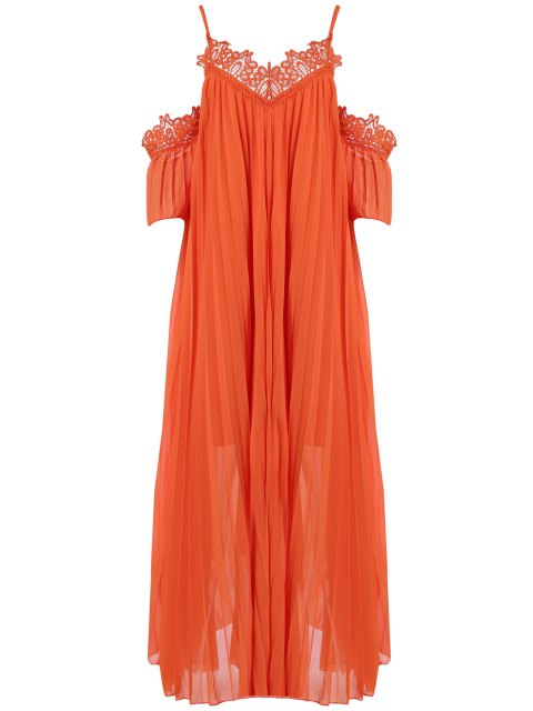 affordable Cold Shoulder Spaghetti Straps Solid Color Dress - ORANGE ONE SIZE(FIT SIZE XS TO M) Mobile