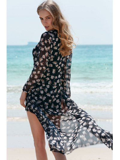 Plunging Neck Floral Dovetail Romper - BLACK L Mobile