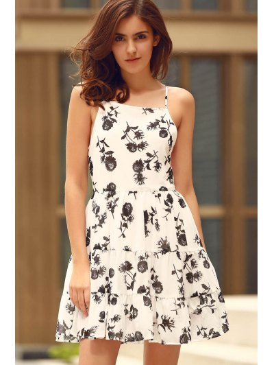 Floral Print Tiered Chiffon Dress - WHITE S Mobile