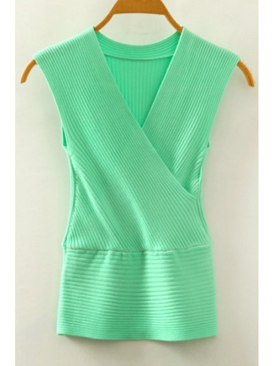V Neck Crossed Knitted Tank Top