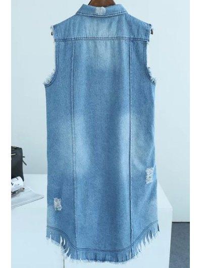 Letter Print Frayed Long Waistcoat - BLUE S Mobile