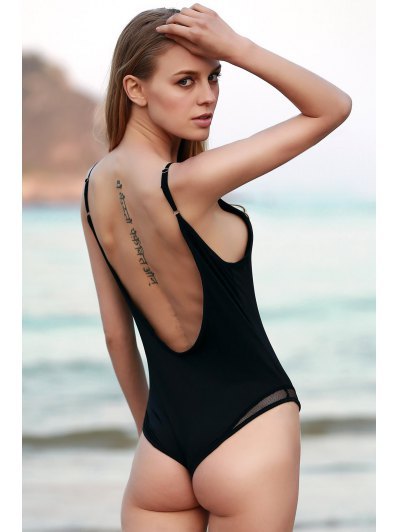 See-Through Hollow Back Bodysuit - BLACK XL Mobile